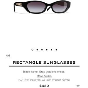 CHANEL Rectangle Sunglasses A71280 Black